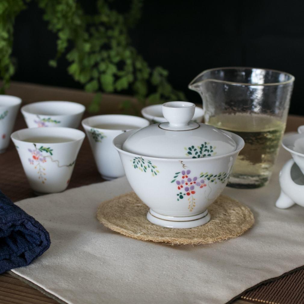 L Y Handgemalte Tee Sets 10 in die Schüssel Kung Fu Tee Sets Lila Osten Geschenkboxen Corporate Geschenke Angepasst