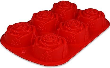 Muffin Backform Dessertform Kleingebäck Rose Silikon Blume Rot Birkmann 6 Loch