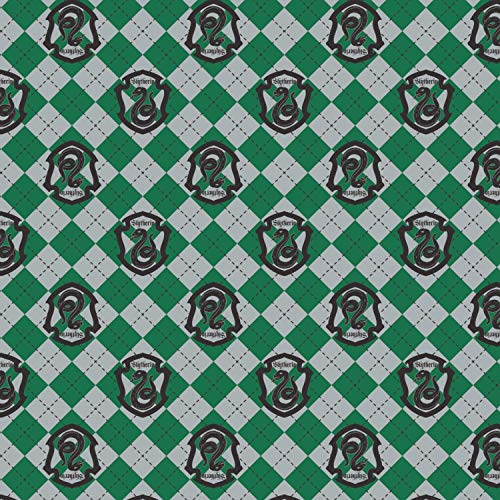 Harry Potter Flannel Slytherin Crest by Camelot Fabrics, Precut for Fast delivery, Licensed by Warner Bros. (1 - Licensed Flannel Fabric