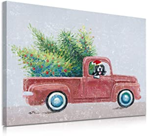 "B BLINGBLING Cute Driver Dog Carries The Christmas Tree in a Red Truck Canvas Wall Art, Fresh Cut Farmhouse Sign for Home Decor 12""x16"""