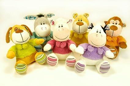 CAPRILO Lote de 6 Peluches Infantiles Decorativos Animales Surtidos Multicolores. Juguetes Infantiles. Muñecos para
