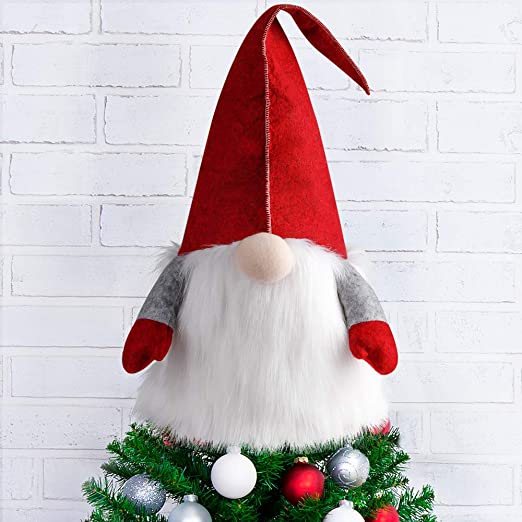 Extra Large Elf Holding a Joy Christmas Tree Topper