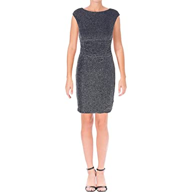 a2e7a75181f LAUREN RALPH LAUREN Womens Petites Metallic Cap Sleeves Cocktail Dress Navy  0P