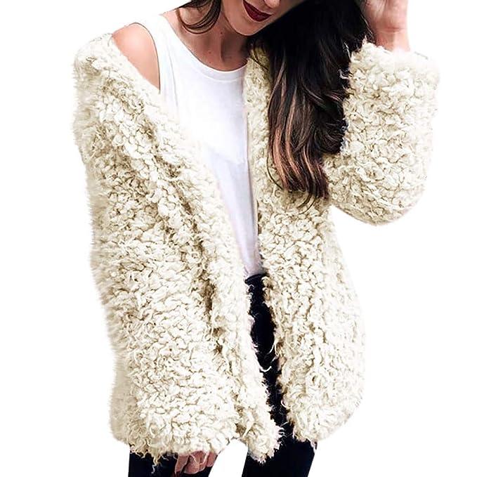 Luckycat Abrigo de Piel sintética de Las señoras de la Moda de Las Mujeres Abrigo de