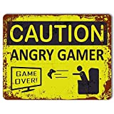 Personalized Caution: Angry Gamer Metal Sign, Door Sign Vintage Effect, Gaming Decor Metal Sign Tin 30 x 20cm.