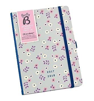 Agenda escolar 2017-18 Busy B (motivo floral) con bolsillos y doble página hebdomadaria para planificar dos vidas ajetreadas