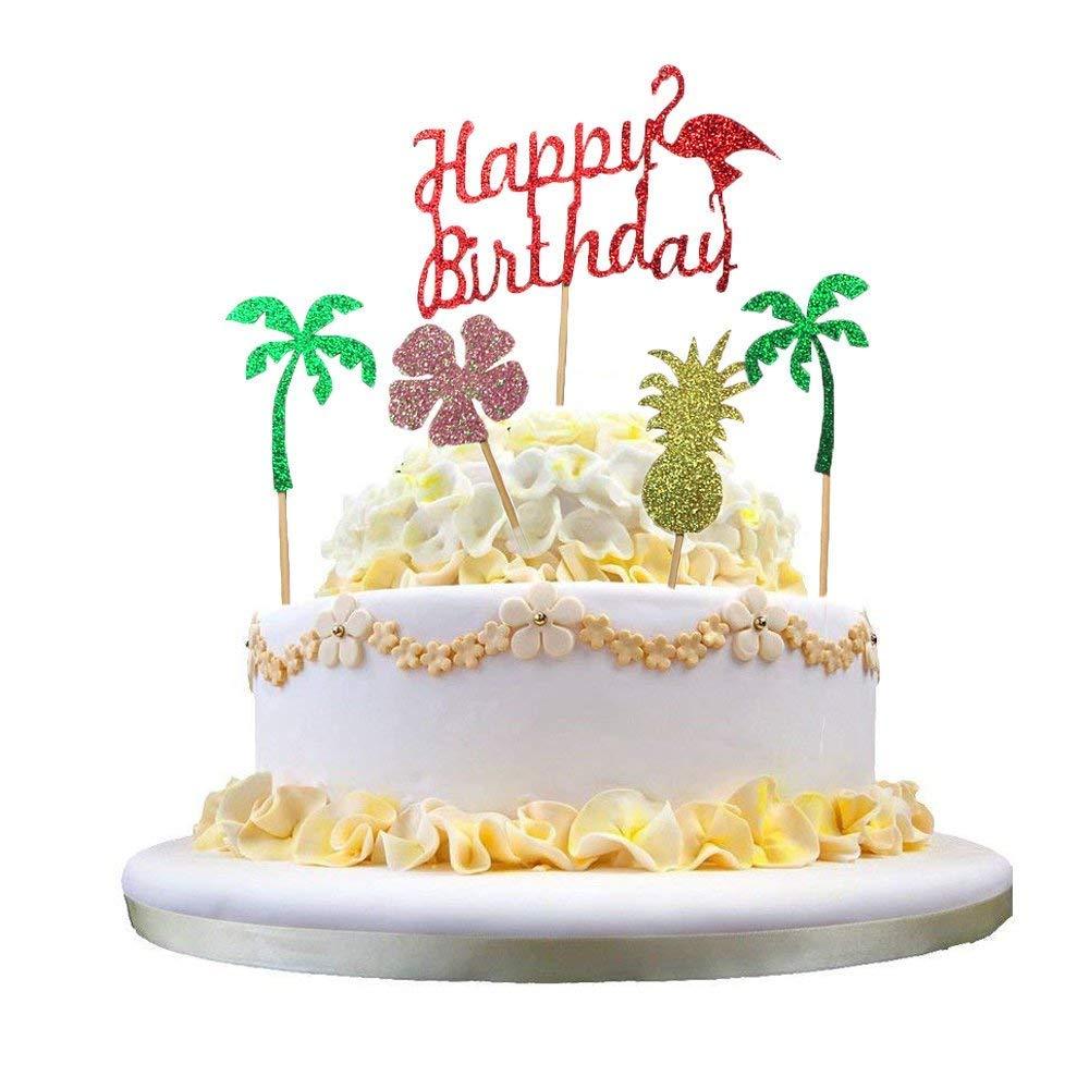 Sakolla Set Of 5 Flamingo Cake Toppers Pineapple Happy Birthday Decoration Tropical Hawaiian
