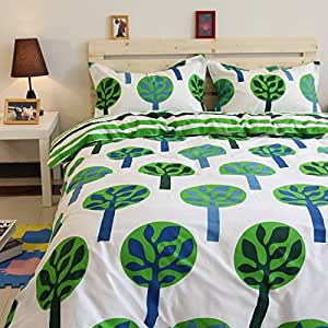 Norson Cartoon Green Forest Bedding Sets, Kids Bedding Set, Children's Duvet Cover Set, Cotton Baby Bedding Set, Twin Full Size (Twin)