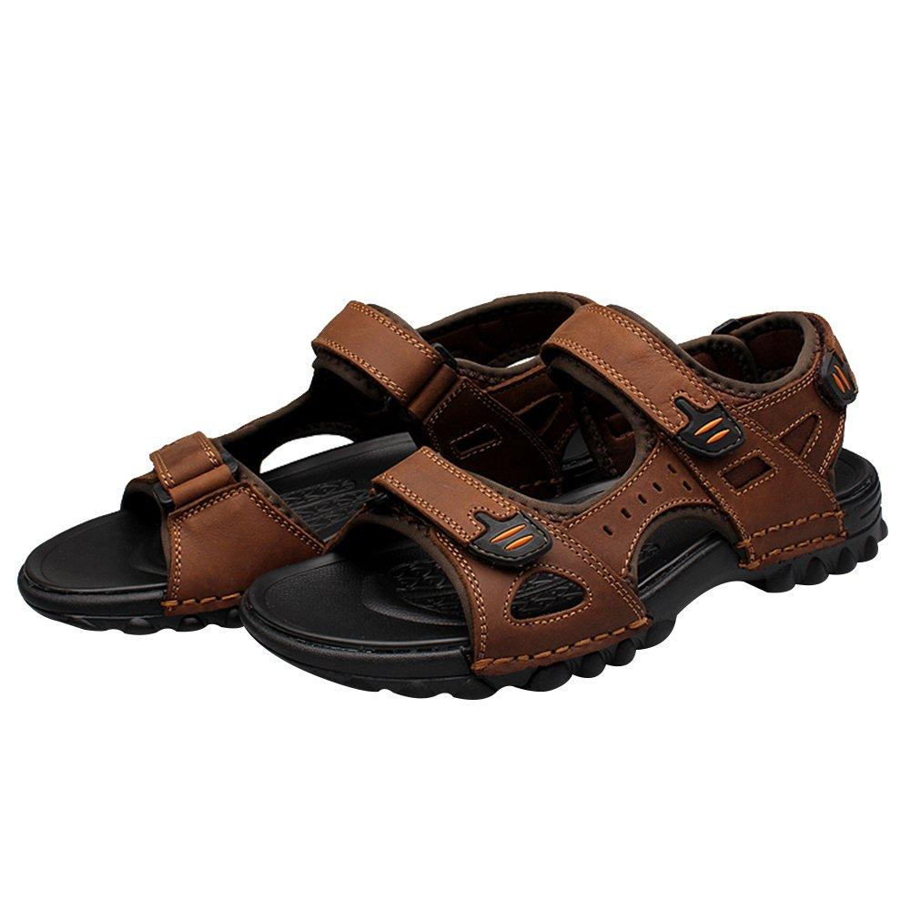 62e8388eb Rismart Hombre Punta Abierta Casual Gancho y Bucle Intemperie Trekking  Cuero Sandalias Zapatos  Amazon.es  Zapatos y complementos