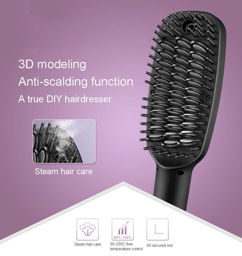 Cepillo alisador con aerógrafo, cepillo para alisado profesional con tecnología de iones para alisar y peinar el cabello, pantalla digital de temperatura: ...