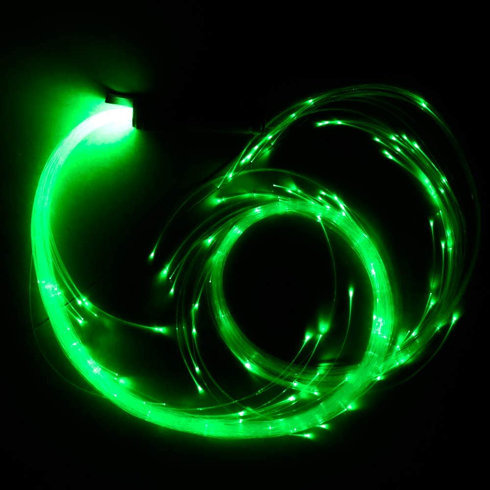 L/átigo de Fibra /óptica LED Que Cambia de Color con Luces LED 10 Colores 40 Modos de Efectos y Giro de 360/° para ferias de Carnaval de Fiesta Kingmaled