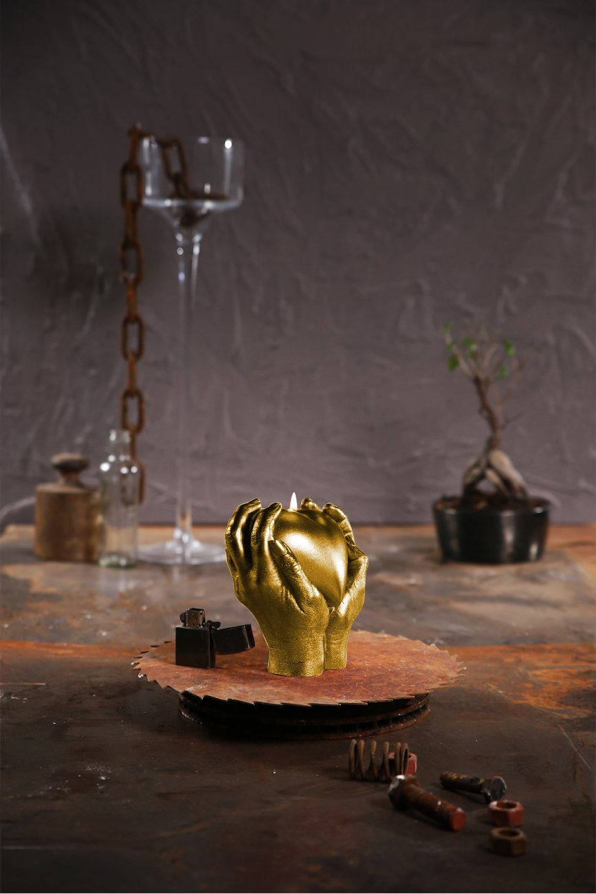 Candellana Candles Candellana- Holding Heart Candle-Gold,