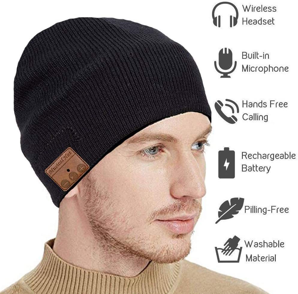 seenlast Upgraded Bluetooth Beanie Hat Headphones Wireless Headset Winter Music Speaker Hat Knit Running Cap with Stereo Speakers & Mic Unique Christmas Tech Gifts for Women Men (Black-a)