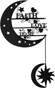 aboxoo Home, Love and Faith The Moon and Back Wall Art - Steel Roots Decor, Crescent Wall Hanging Decorative Sculpture, Powder Coated Metal Laser Cut Holes, for Outdoor Indoor Living Room Bedroom