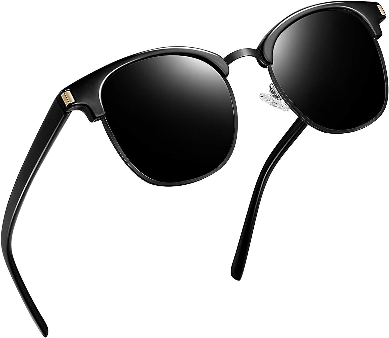Joopin Gafas de Sol Polarizadas Hombre Media Montura con Protección UV400 Clásicas Retro Gafas para Hombre y Mujer All Black: Amazon.es: Ropa y accesorios
