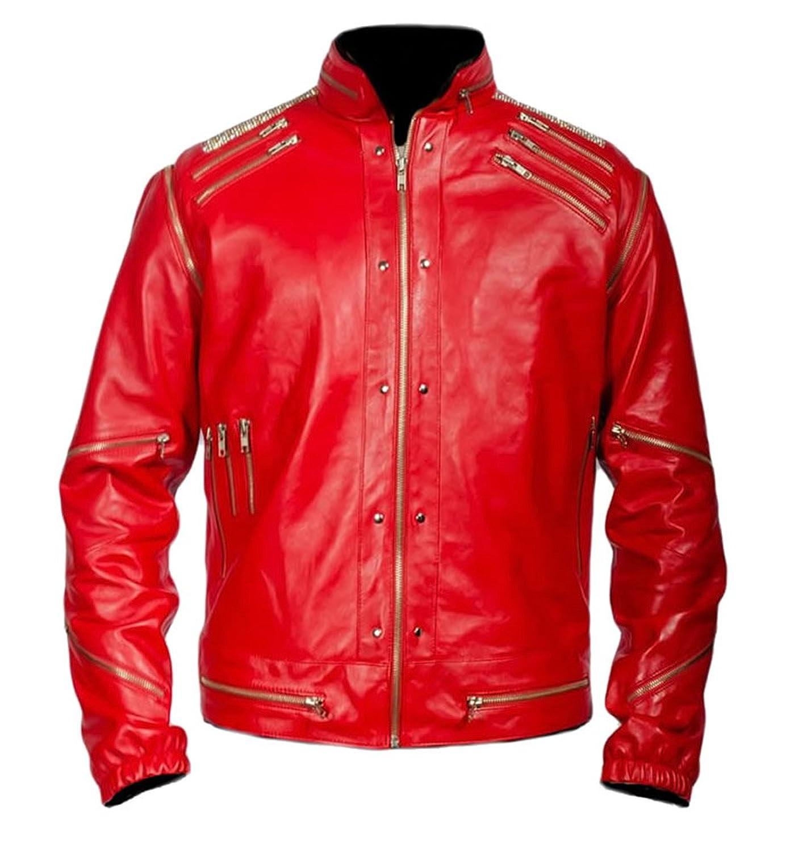 Classyak Men's Fashion MJ Beatit Leather Jacket Red