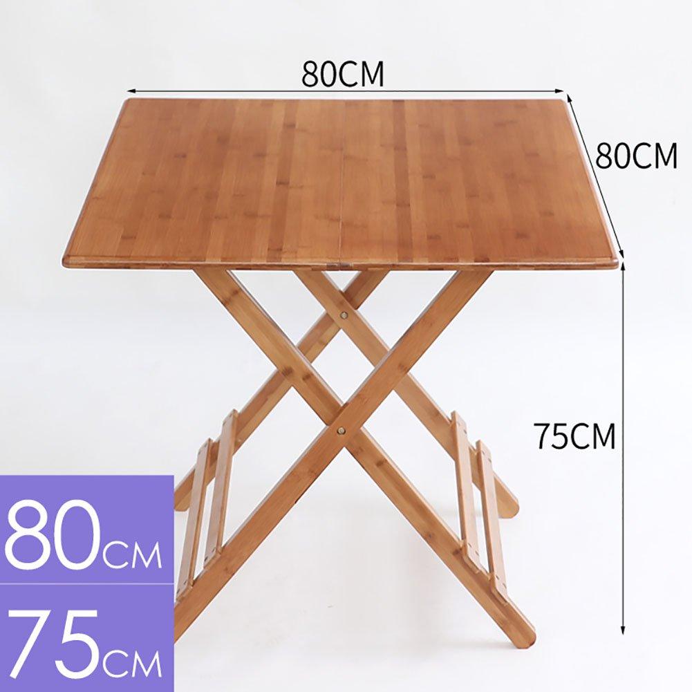 YXX- 木製の脚付きポータブルキャンプ折りたたみテーブル子供のための小さな屋外折り畳み式キッチンダイニングティーコンピュータデスク (サイズ さいず : 80*80*75cm) B07DS595QQ   80*80*75cm
