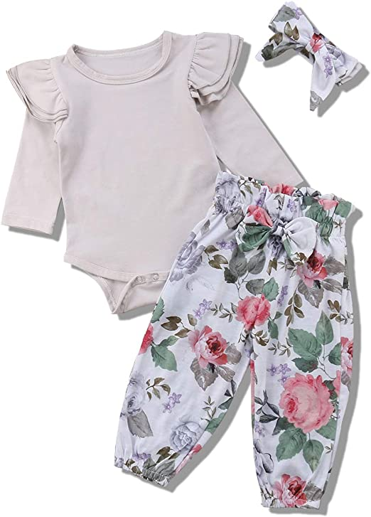 US Stock Newborn Baby Girls Clothes Tops+Floral Short Pants Headband Outfits Set