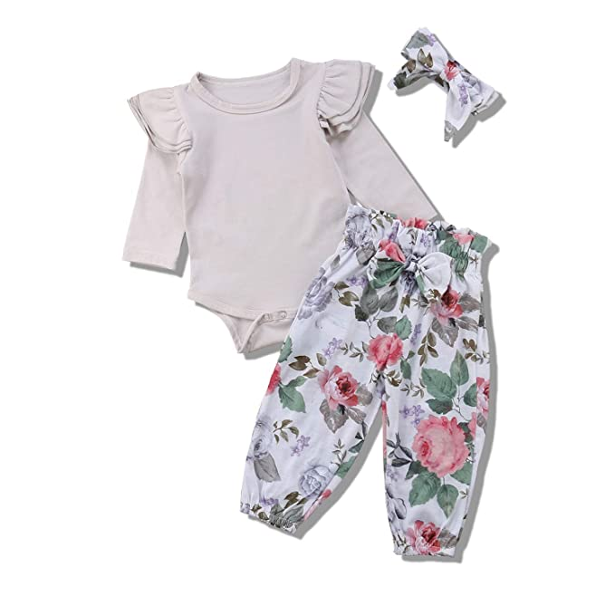 cc7d0224db3 Baby Girl Ruffle Romper Long Sleeve Onesie Floral Pants with Headband 3Pcs  Clothes Outfit (Gray