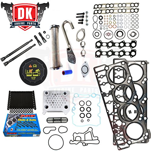 Ford 6.0L 6.0 Powerstroke Kit - 2004.5-2008 - ARP Studs 18MM Head Gaskets Oil Cooler Stand Pipes Coolant Degas Cap Intake and Exhaust Gaskets (18mm)