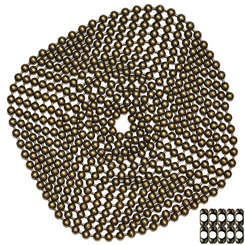 (10 Foot Length Ball Chain, #10 Size, Medieval Brass Finish, & 10 Matching 'B' Couplings)
