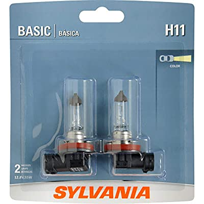 SYLVANIA - H11 Basic - Halogen Bulb for Headlight, Fog, Daytime Running Lights, and Cornering Applications (Contains 2 Bulbs): Automotive