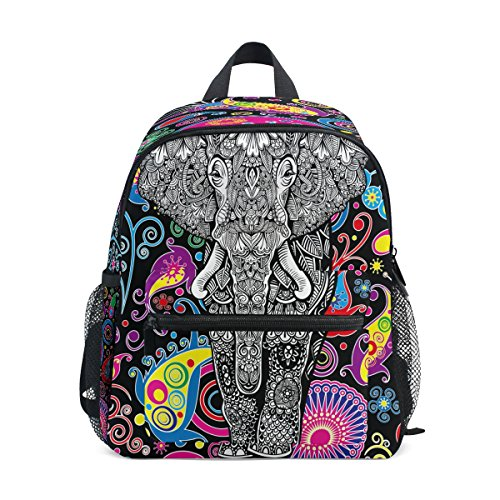 ZZKKO Indian Elephant Kids Backpack School Book Bag for Toddler Boys - Paisley Bottle Bag Park