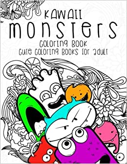 kawaii monsters coloring book cute coloring books for adults coloring pages for adults and kids anime and manga coloring books girls coloring books - Manga Coloring Book