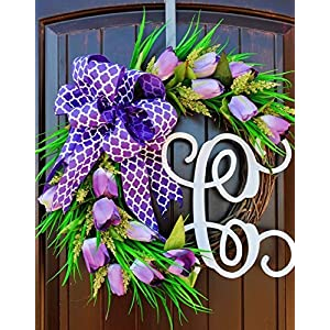 Purple Tulip Front Door Wreath with Script Monogram for Door Decor-Mother's Day 98