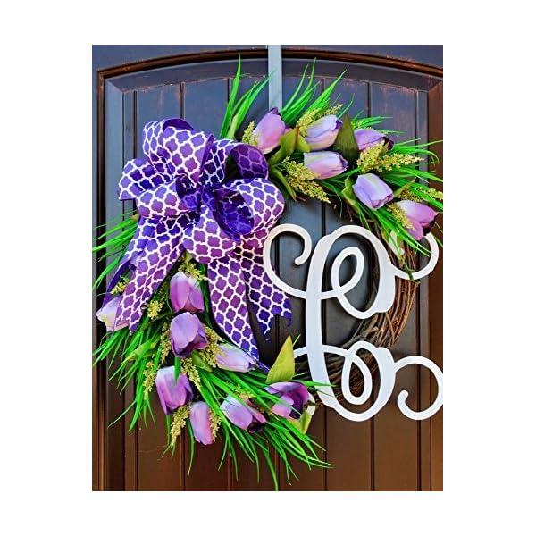 Purple Tulip Front Door Wreath with Script Monogram for Door Decor-Mother's Day