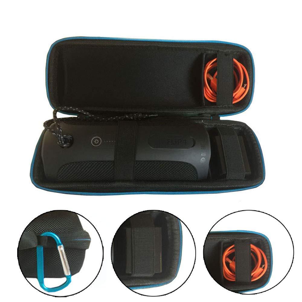 Colorful Für JBL Flip4 Tasche, Tragetasche mit Handschlaufe Hochwertig und Robust Kompatibel mit JBL Flip4 Bluetooth Lautsprecher - Schwarz