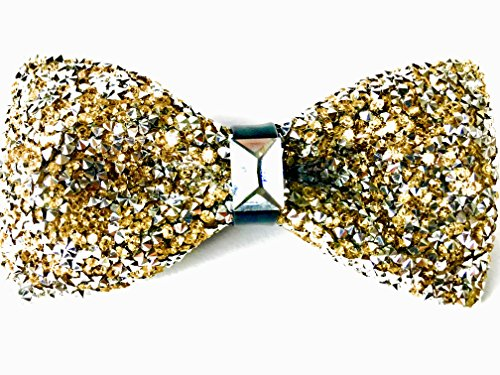 47IVYWOOD Premium Pre-tied Rhinestone Gold Bow Tie for Men, Women, Boys, Girls (gold) -