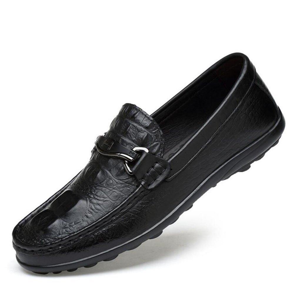 YAN Männer-Slip-Ons Lässige Leder-Loafers Schuhe Leichte Sohlen Treibende Schuhe Geschäft Work Party & Abend, A,38