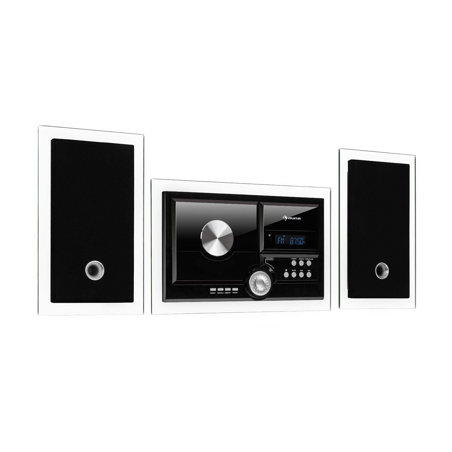 auna Stereosonic Microsystem • Stereo System • Micro System • 2 x 10 Watts RMS Stereo Speakers • Front-Loading CD Player • FM Tuner • Bluetooth • USB Port • Incl. Remote Control • Black by AUNA