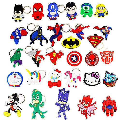 Melleco 30pcs Keychain Key Tags Superhero Goodie Bag Stuffer Christmas Gift Holiday Charms for Kids Birthday Party Favors School Carnival Reward Prizes Decoration Collectible for PJ Masks -
