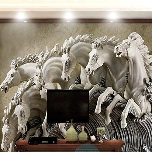 140X70Cm, Wallpaper Simple Modern 3D Stereo Horse Relief Living Room Background Wall Murals Papel De Parede 3D Wall Paper,By ZLJTYN B07F4GMYCH 140X70CM