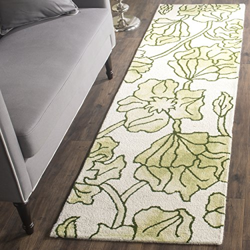 (Safavieh Dip Dye Collection DDY683B Handmade Modern Floral Watercolor Ivory and Light Green Wool Runner (2'3