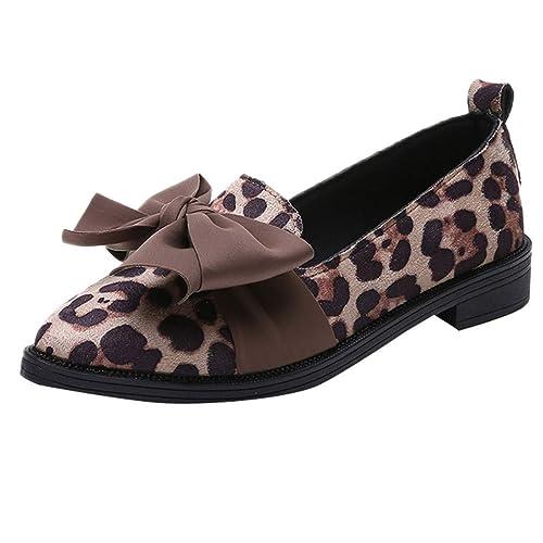 Zapatillas sin Cordones para Mujer Zapatos Solos con Estampado de Leopardo: Amazon.es: Zapatos y complementos