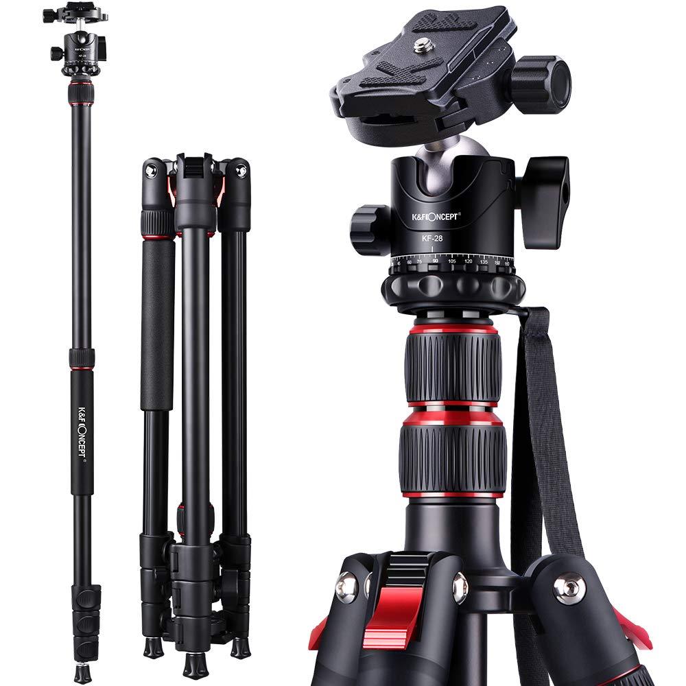"Camera Tripod 79/""//200cm K/&F Concept DSLR Tripods Aluminum Travel Vlog Tripod Up"