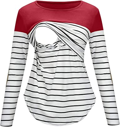 Camiseta de Lactancia Rayas para Mujer Camisa de Maternidad ...