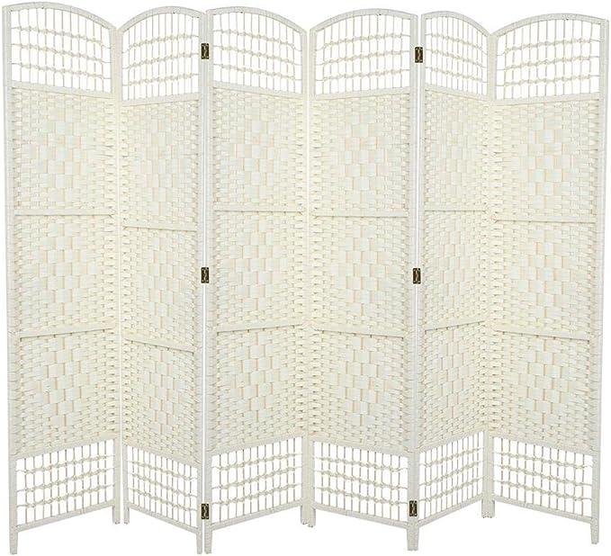 GOTOTOP Divisor de Habitación de 6 Paneles Separador de Espacios Plegable 170 x 240cm Biombo Separador de Bambú Natural y Papel Trenzado para Dormitorio, Salón y Oficina(Crema): Amazon.es: Hogar