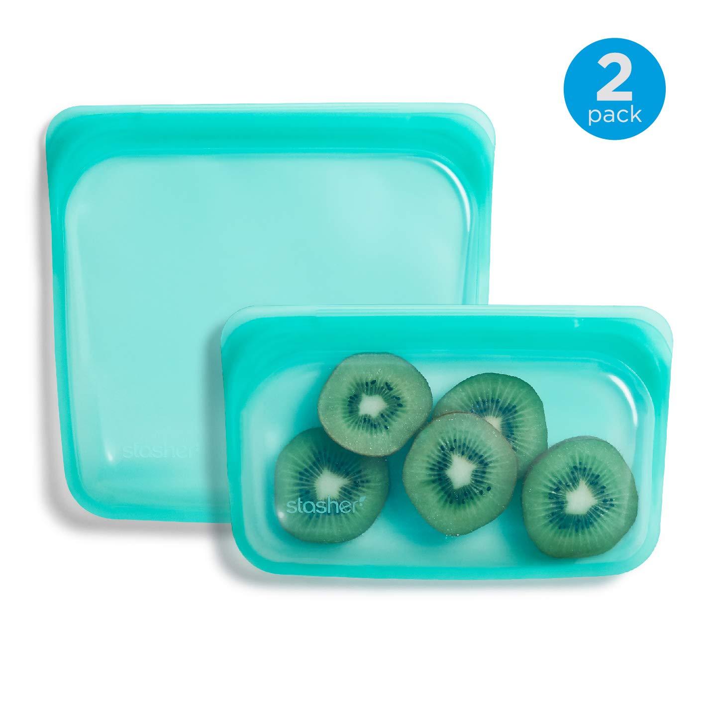 Stasher Reusable Silicone Food Bag, Sandwich Bag and Snack Bag, Storage Bag, Aqua Blue