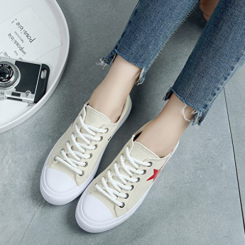 Canvas Flat Star Shoes Star Head Beige With Shallow Round Mouth rX0rx