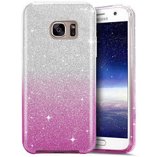 Funda Samsung Galaxy S6 edge Cover Samsung G925,Ukayfe Funda 360 Doble Delantera + Trasera Gel Transparente Silicona Gel para Samsung Galaxy S6 edge Samsung G925,Samsung Galaxy S6 edge Samsung G925 Cr Gradiente de Rosa