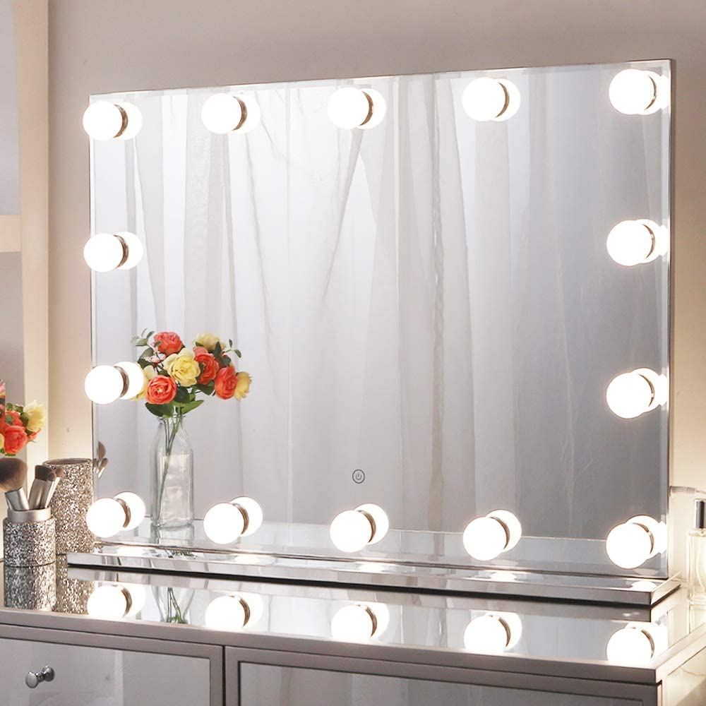 """Chende 31.5"""" X 23.6"""" Large Hollywood Makeup Mirror with 14 LED Light Bulbs, Lighted Vanity Mirror for Wall with Touch Control Dimmer in Makeup Studio, 3 Color Lighting Modes"""