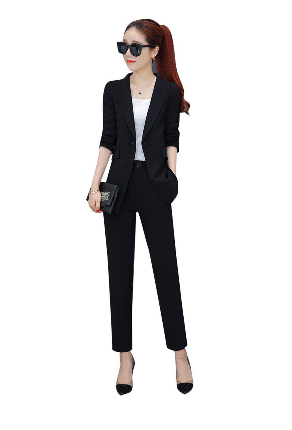パンツスーツレディースセットアップ就活スーツレディース ブラック ホワイトスーツパンツ 結婚式フォーマル olビジネス事務服着痩せ入園式 卒業式 通 B07BHMDWC8 XL|ブラック ブラック XL