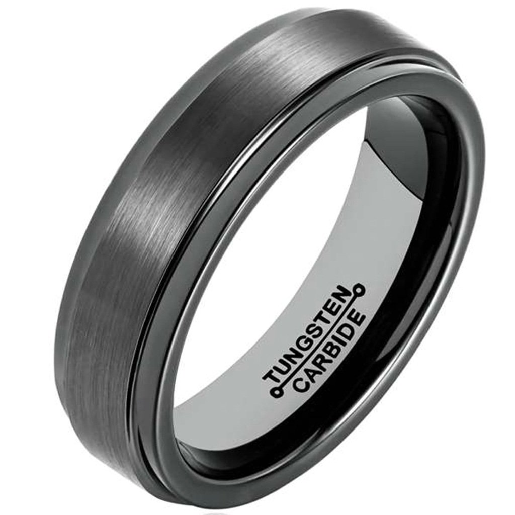 Bishilin Tungsten Brushed Finish Domed Comfort Fit Black 6MM Ring Wedding Band for Mens Size 13