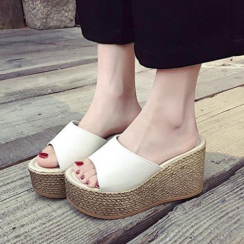 Lvyuan De Talón Ocasional Mujeres Cuña Parte Zapatos Impermeable Blanco Alto La Playa Manera Las Comodidad Sandalias Inferior Plataforma Verano Gruesa Del Deslizadores rvwqtAv