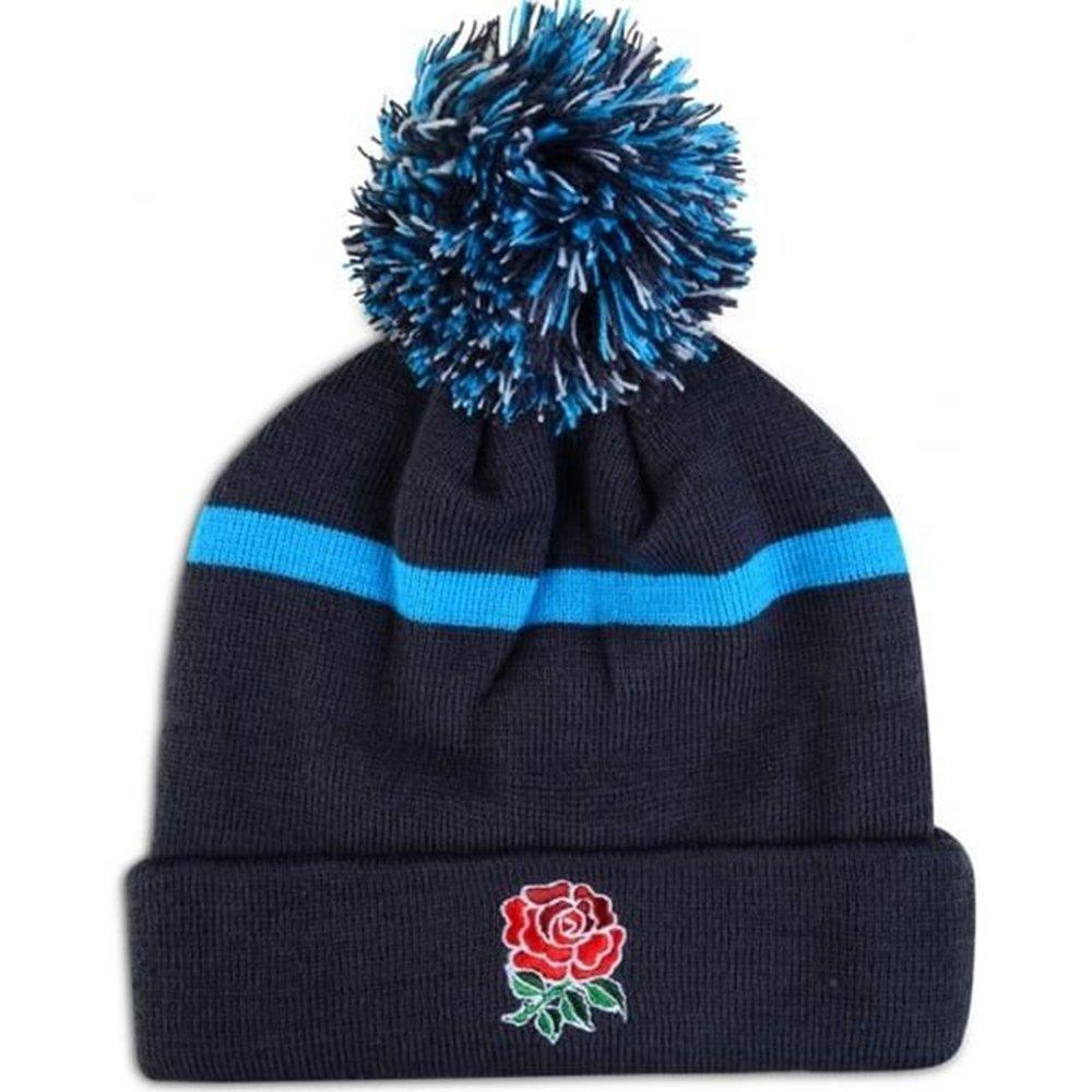 Navy Canterbury 2016-2017 England Rugby Stripe Bobble Beanie