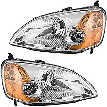 Driver and Passenger Headlights Headlamps Replacement for Honda 33151-S5P-A01 33101-S5P-A01